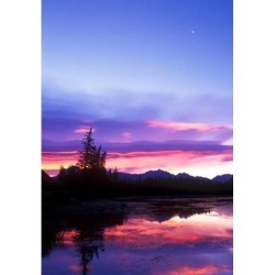 Posterazzi PDDCN01RTI0009 Crescent Moon Over Vermillion Lake in Banff National Park Alberta Canada Poster Print by Rob Tilley