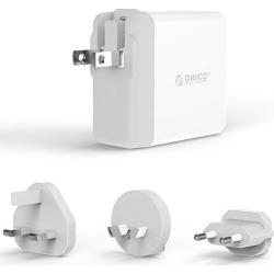 ORICO Portable USB Wall Charger 4 Ports USB Super Charger(4*5V2.4A) Universal US Plug USB Charger with 3 Removable EU UK AU Plug for Worldwide Travel