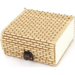 Unique Bargains 7cm x 7cm Bamboo Earrings Necklaces Jewelry Organizer Storage Box Case Beige found on Bargain Bro Philippines from Newegg Business for $4.78