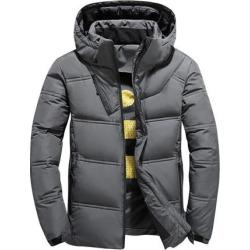 Men Short Down Jacket Coat Dark Gray XL