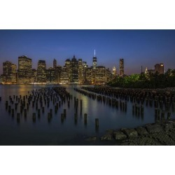 Posterazzi DPI12284565 Manhattan Skyline at Twilight Brooklyn Bridge Park - Brooklyn New York United States of America Poster Print - 19 x 12 in.