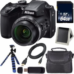 Recertified - Nikon COOLPIX B500 Digital Camera (Black) + 64GB SDXC Class 10 Memory Card + Flexible Tripod + Carrying Case + Micro HDMI Cable + Card