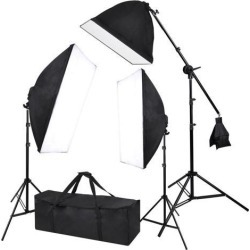 2000w Photography 3 Softbox Boom Stand Continuous Lighting Photo Studio Video
