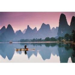Cormorant fishing at dusk, Li river, Guangxi, China Poster Print by Walter Bibikow DanitaDelimont (34 x 24)