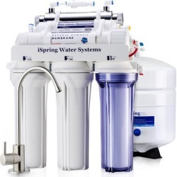 iSpring Reverse Osmosis Water Filter System w/ 11W Flow-sensor UV Sanitation Stage - 75GPD 5-stage RCC7U - Ideal for Well Water