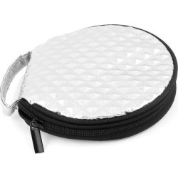 Unique Bargains Silver Tone Diamond Pattern Zip Up Closure 20 CD Discs Holder Pocket Bag Case found on Bargain Bro Philippines from Newegg Business for $11.53