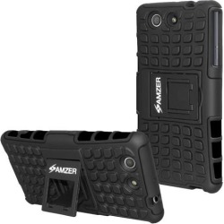 AMZER IMPACT RESISTANT HYBRID WARRIOR CASE WITH STAND FOR SONY XPERIA Z3 COMPACT