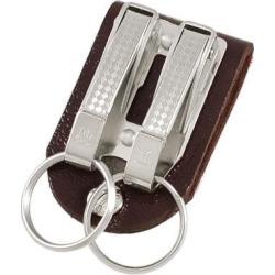 Unique Bargains Unique Bargains Silver Tone Metal Dual Rings Brown Belt Loop Design Keyring Chain