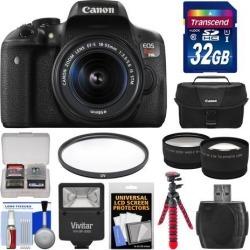 Canon EOS Rebel T6i Wi-Fi Digital SLR Camera & EF-S 18-55mm IS STM Lens with 32GB Card + Case + Flash + Flex Tripod + Filter + Tele/Wide Lens Kit