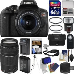 Canon EOS Rebel T6i Wi-Fi Digital SLR Camera & 18-55mm IS STM + 75-300mm III Lens + 64GB Card + Case + Flash + Battery & Charger + Tripod + Filters.
