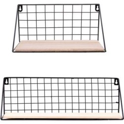 Pack 2 Metal & Wooden Wall Grid Hanging Shelf Furnishing Storage Rack Holder