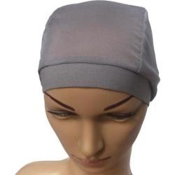 Mesh Stretch Turban Hat Hijab Skull Cap Head Wrap Hair Loss Chemo Hat Beanie Gray