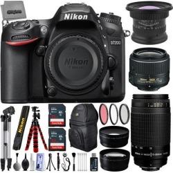 Nikon D7200 24.2MP 1080P DSLR Camera w/ 3.2' LCD - Wi-Fi & GPS Ready + 5 Lens - 15 to 300mm - 64GB - 30PC Kit - Nikon 18-55VR - Nikon 70-300G Lens.