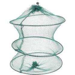 Unique Bargains 11.8' x 0.3' 3 Sections Portable Fishing Landing Net Fish Angler Mesh Keepnet Crawfish Shrimp Green