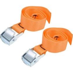 0.5M x 25mm Lashing Strap Cargo Tie Down Straps w Cam Lock Buckle 250Kg Work Load, Orange, 2 Pcs