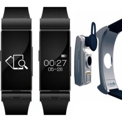 Indigi® Sporty Bluetooth Smart Watch Removable Handsfree Earphone Design Built-in Heart Rate Monitor Pedometer