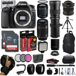 Canon EOS 80D DSLR Digital Camera with EF-S 18-55mm IS STM + 55-250mm IS II + 6.5mm Fisheye + 420-800mm Telephoto Lens + 128GB Memory + 2 Extra.