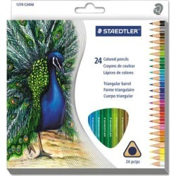 Staedtler 1270C24A6 Triangular Colored Pencil Set, H/#3, 2.9Mm, 24 Assorted Colors