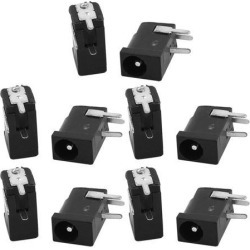 10Pcs 3.5x1.3MM Center Pin Right Angle Through Hole Open Frame DC Power Jack Male Power Connector Black