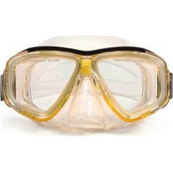 6.25' Malibu Yellow and Clear Pro Mask Swimming Pool Goggles for Adults