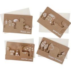 4 Set Animal Birthday Thank You Card with Envelopes Greeting Invitation Card