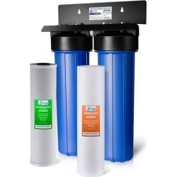 iSpring WGB22B 2-Stage 20-Inch Big Blue Whole House Water Filter 1-Inch NPT Carbon