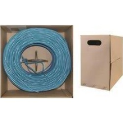 Bulk Shielded Cat5e Blue Ethernet Cable, Solid, Pullbox, 1000 foot