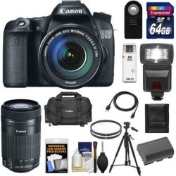 Canon EOS 70D Digital SLR Camera & EF-S 18-135mm IS STM Lens with 55-250mm IS STM Lens + 64GB Card + Battery + Case + Filters + Flash + Tripod + Kit
