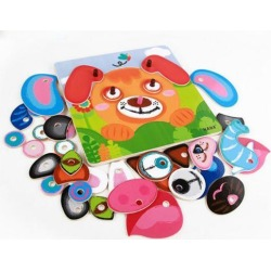 Baby Educatioanl Toys Changing Faces Jigsaw Puzzle Games Wooden Toys 8 Animal Faces Changing Puzzles Creative Birthday Gift