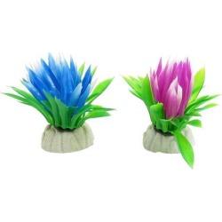 Unique Bargains 2 Pieces Plastic Green Leaf Blue Fuchsia Lotus Flower Decor for Fish Tank