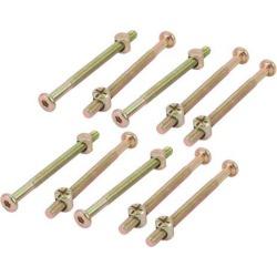 M6x80mm 63mm Length Thread Hex Socket Drive Bolt w Phillips Barrel Nut Furniture Cross Dowel 10pcs