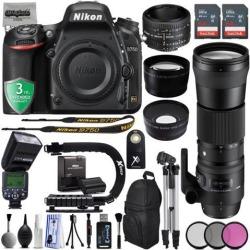 Nikon D750 24.3MP 1080P DSLR Camera w/ Wi-Fi & GPS Ready + 4 Lens- 128GB - 30PC Kit - Nikon 50mm f/1.8D - Sigma 150-600mm f/5-6.3 OS HSM Lens +