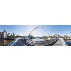 Posterazzi DPI12300930 Gateshead Millennium Bridge - Newcastle Tyne & Wear England Poster Print by John Short, 28 x 8