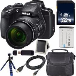 Nikon COOLPIX B700 Digital Camera (Red) International Model + EN-EL23 Replacement Li-on Battery + 32GB SDHC Class 10 Memory CardFlexible Tripod with