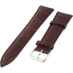 Unique Bargains Brown Faux Leather Wrist Watch Band Strap Replacement 24mm for Men Women