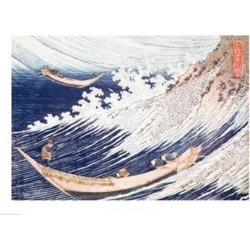 Posterazzi BALXIR201627LARGE Two Small Fishing Boats on The Sea Poster Print by Katsushika Hokusai - 36 x 24 in. - Large