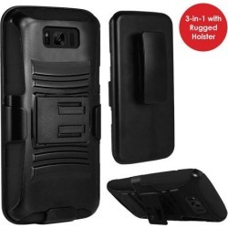 GALAXY S8+ Case, Heavy Duty Dual Layer Rugged Holster Defender Full Body Protective Hybrid [Shockproof Hard Case] Cover w/ Side Kickstand & Belt Clip