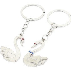 Lover Metal Swan Pendant Keyring Keychain Key Ring Chain Ornament 9cm Pair