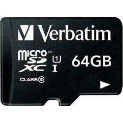 Verbatim 64GB microSDXC Card (Class 10) w Adapter