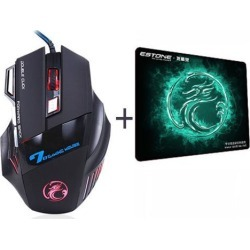 Wanmingtek Professional Double Click 7 Buttons 3200DPI Gaming Mouse USB Wired Optical Computer Game Mouse Mice with Gaming Mouse Pad for PC Laptop.
