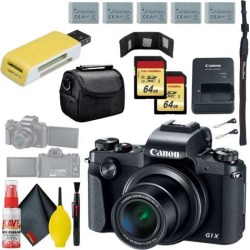 Canon PowerShot G1 X Mark III Digital Camera & 64GB MicroSD x2 & Carrying Case & Battery x4