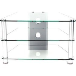 RTA Home and Office TVM-021 Glass and Aluminum 32 in. Below Clear Tempered Glass Plasma & LCD TV Stand with Wire Management