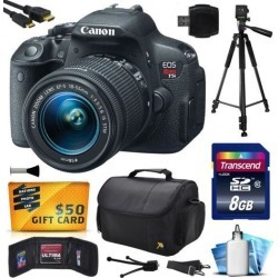 Canon EOS Rebel T5i (700D) Digital SLR with 18-55mm STM Lens includes 8GB Memory + Large Case + Tripod + Card Reader + Card Wallet + HDMI Mini.
