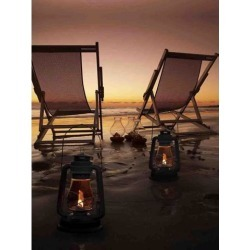 LED Lighted Sunset Beach Relaxation with Lanterns Canvas Wall Art 15.75' x 11.75'