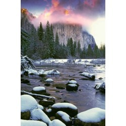 Winter snow, Merced River Poster Print by Jaynes Gallery (23 x 35)