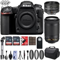 Nikon D500 Digital 4K 2160P SLR Camera w/ Nikon 50mm f/1.8D AF Lens - Nikon AF-P 70-300mm f/4.5-5.6G ED VR Zoom Lens - 32GB - 28PC Bundle
