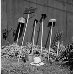 Posterazzi SAL255424685 Close Up of Gardening Tools Leaning Against Wall Poster Print - 18 x 24 in.