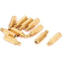 M4x16mm+6mm Male to Female Thread 0.7mm Pitch Brass Hex Standoff Spacer 10Pcs