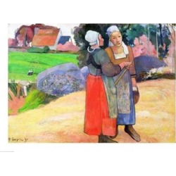 Posterazzi BALXIR83800LARGE Breton Peasants 1894 Poster Print by Paul Gauguin - 36 x 24 in. - Large