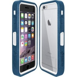 Amzer Blue on White Embedded Tempered Glass Rugged Case With Holster for Silver/Gold Apple iPhone 6 Plus / 6S Plus